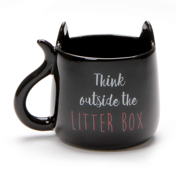Black Cat Mug - Think Outside the Box - Back