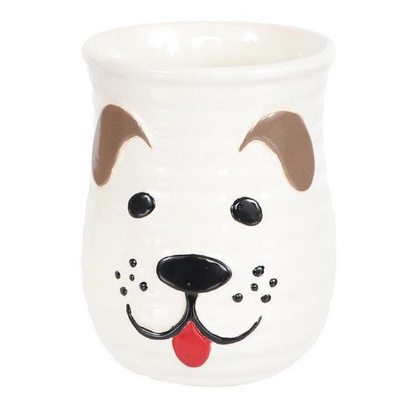 Dog Sculpted Cozy Hand Coffee Mug -  WHITE - 18oz - 40014B
