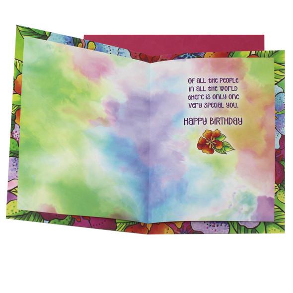 Laurel Burch Birthday Card - Floral Colors - 47269