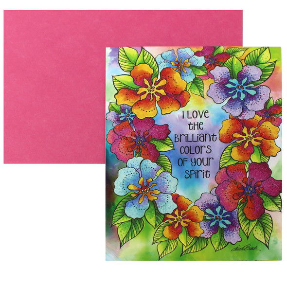 Laurel Burch Birthday Card - Floral Colors