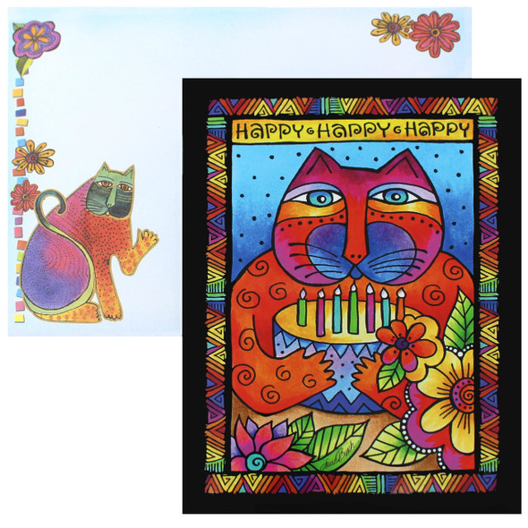 Laurel Burch Birthday Card - Happy Happy Cat