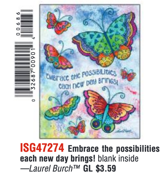 Laurel Burch Encouraging Butterflies Card and Decorated Envelope  - 47274