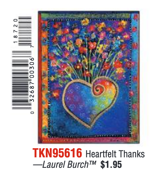 Laurel Burch Heartfelt Thanks - Thank You Card - 95616