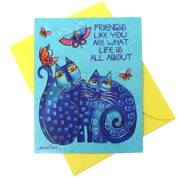 Laurel Burch Friendship Card - Cats and Butterflies