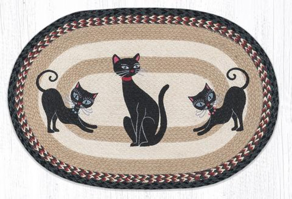 Crazy Cats 20x30 Hand Printed Oval Braided Floor Rug OP-9-238