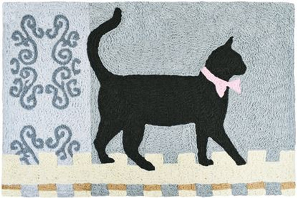 Kitty Cat Walking the Fence - 21 x 33 - Washable Floor Rug JB-AT022