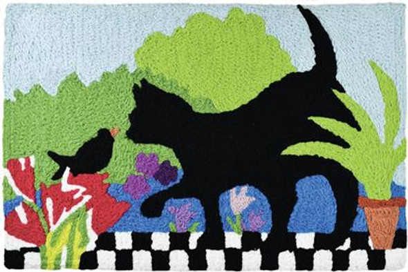Kitty Cat Bird Garden Buddies - 21 x 33 - Washable Floor Rug JB-MC025