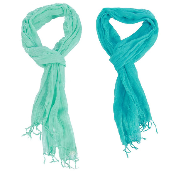 Solid Fringed Viscose Scarf - Mint - Teal - 25205