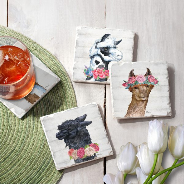 Llama Bloom Tumbled Tile Coaster Set of 4  -  05-01512