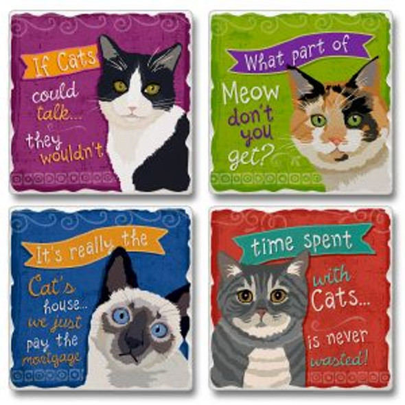 Cat Tales Tumbled Tile Coaster Set of 4  -  05-00111