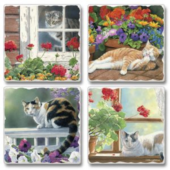 A Lazy Day Cat Tumbled Tile Coaster Set of 4  -  05-00188