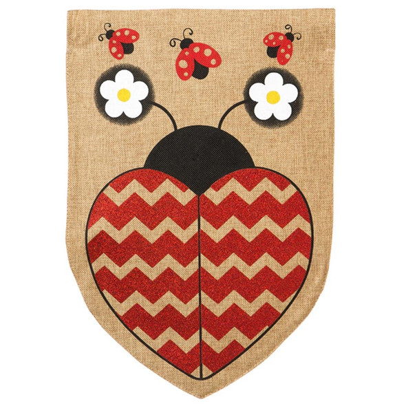 "Ladybug Burlap Garden Flag - 12.5"" x 18"" - 14B3246BL"