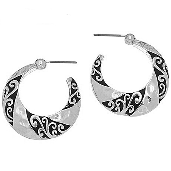Flowering Vine Hoop Earrings
