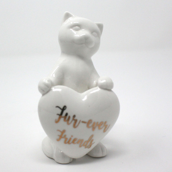 Ceramic Cat with Heart Figurine - Fur-ever Friends