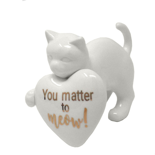 Ceramic Cat with Heart Figurine - You matter to meow