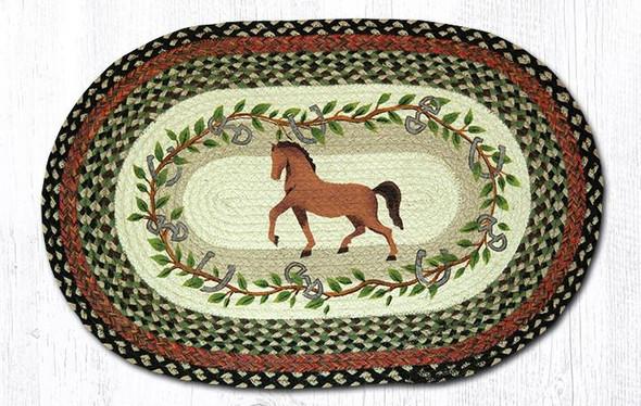 Horse with Oak Leaves 20x30 Hand Printed Oval Braided Floor Rug OP-427