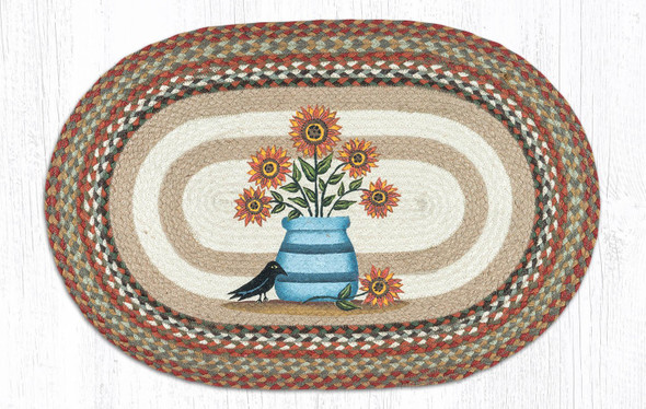 Sunflowers in Crock 20x30 Hand Printed Oval Braided Floor Rug OP-300