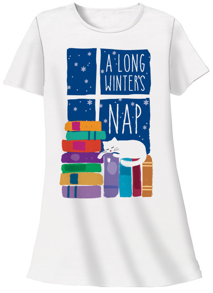 Cat Theme Sleep Shirt Pajamas - A Long Winters Nap - 612T