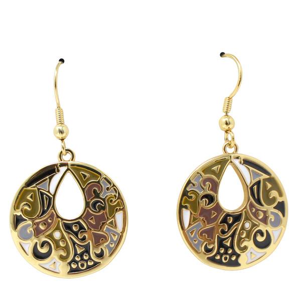 Harmony Laurel Burch Earrings Black Cream Gold 6025A