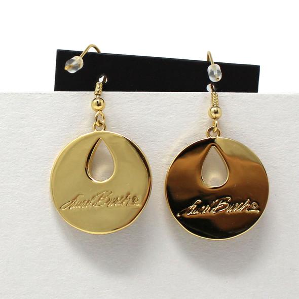 Harmony Laurel Burch Earrings Black Cream Gold Back