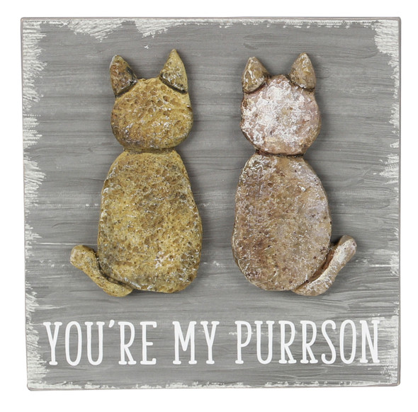 Cat Wood Pebble Art Sign - You're My Purrson - 18175B