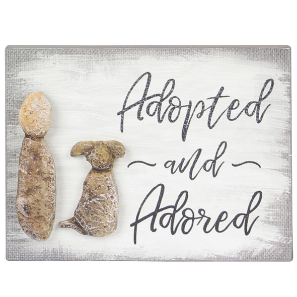 Dog Wood Pebble Art Sign - Adopted and Adored- 18174D