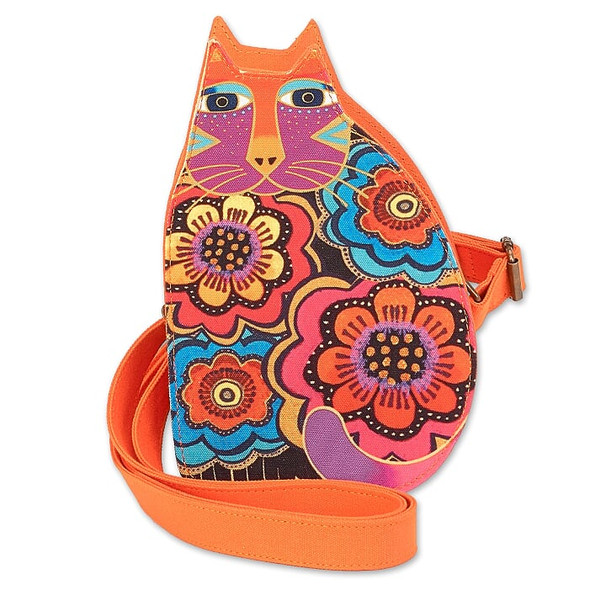 Laurel Burch Flowering Feline 6x9 Cutout Shoulder Tote – LB6554D – Multi