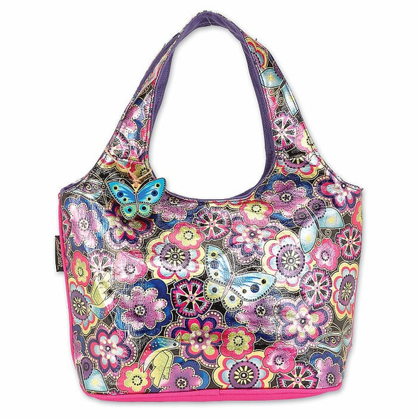 Laurel Burch Foil Purple Multi Floral 14x8 Scoop Tote – LB6641
