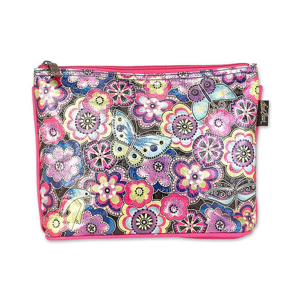 Laurel Burch Foil Purple Multi Floral 9x7 Cosmetic Bag – LB6642