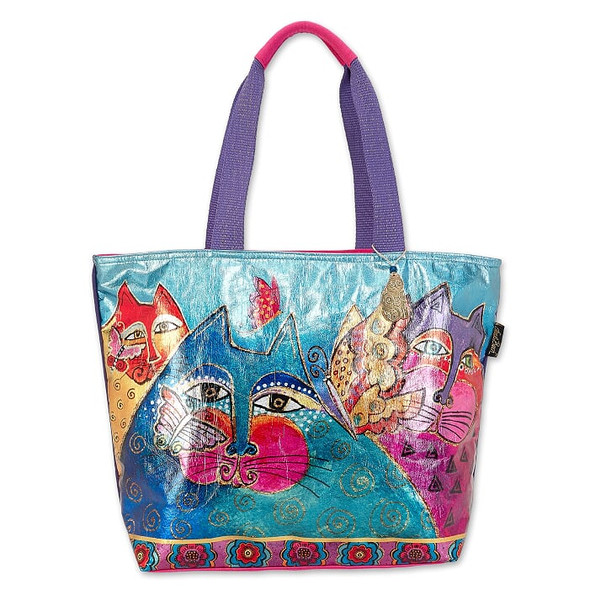 Laurel Burch Foil Felines and Flutterbies 20x15 Shoulder Tote - LB6660