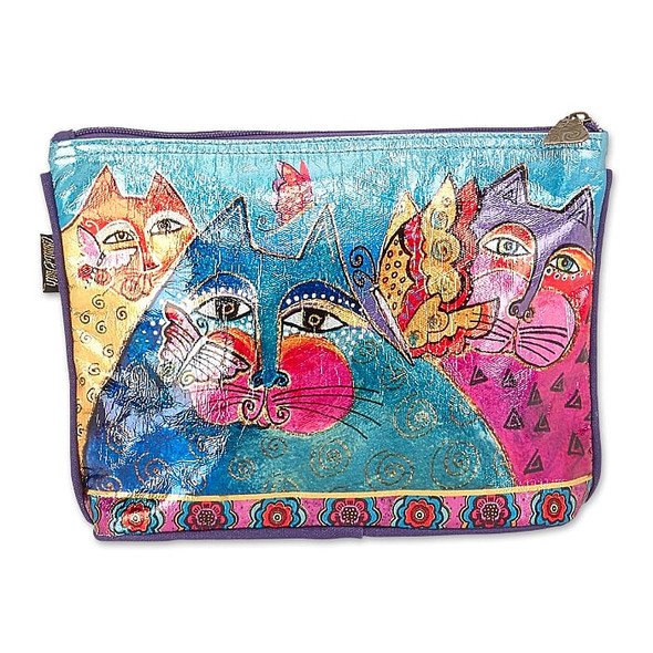 Laurel Burch Foil Felines and Flutterbies 10x7 Cosmetic Bag – LB6662