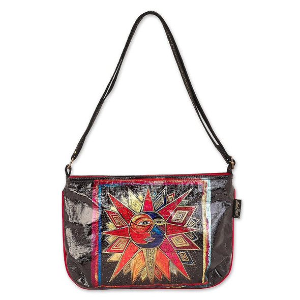 Laurel Burch Foil Sun Moon and Star Dance 15x10 E/W Crossbody Tote – LB6671