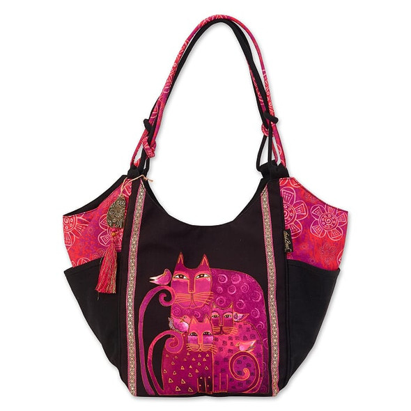 Laurel Burch Magenta Felines 21x12 Scoop Tote – LB6680