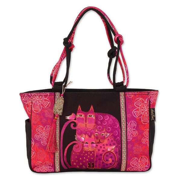 Laurel Burch Magenta Felines 18x10 Medium Tote – LB6681