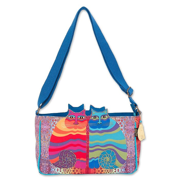 Laurel Burch Rainbow Felines 12x7 Cutout E/W Crossbody Tote – LB7001