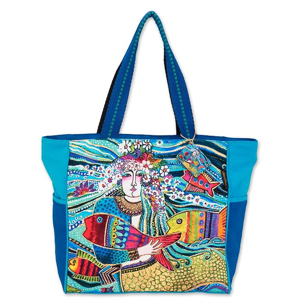 Laurel Burch Floral Fish Mermaid Mural 21x13 Shoulder Tote – LB7060