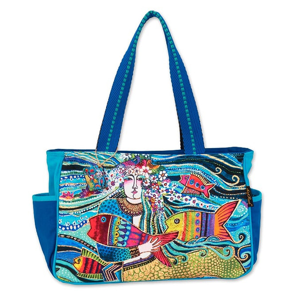 Laurel Burch Floral Fish Mermaid Mural 13x9 Medium Tote – LB7061