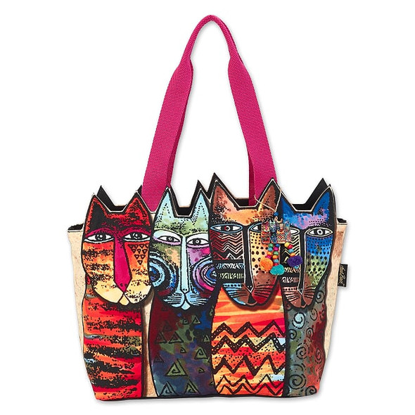 Laurel Burch Rainbow Tribe Felines 20x9 Large Cutout Tote – LB8030