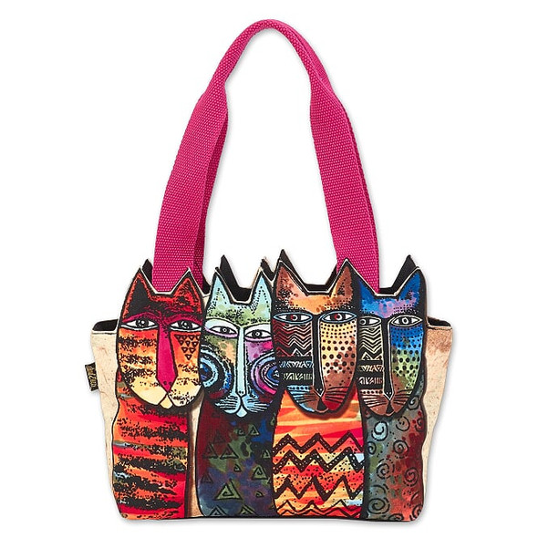 Laurel Burch Rainbow Tribe Felines 15x6 Cutout Medium Tote – LB8031