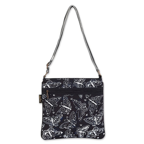 Laurel Burch Black and White Butterfly 11x11 Crossbody Tote – LB8050B