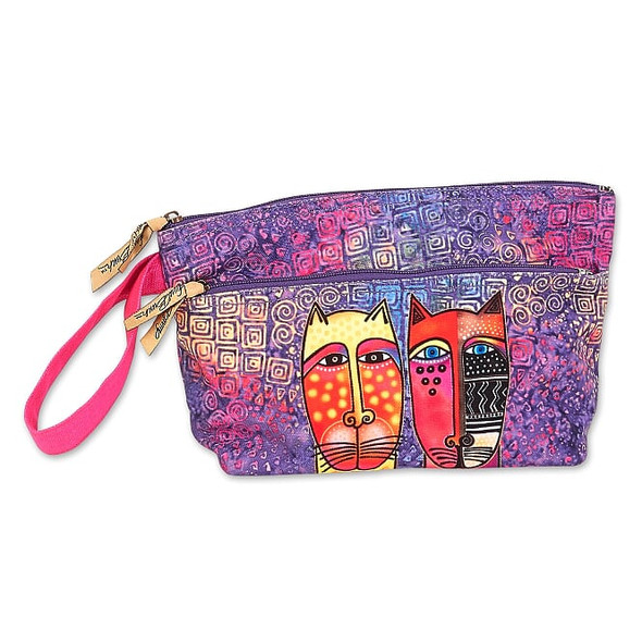 Laurel Burch Rainbow Feline Tribe Wristlet with Two Zippers – LB8051A