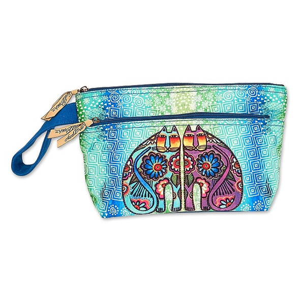 Laurel Burch Batik Festive Felines Wristlet with Two Zippers – LB8051C