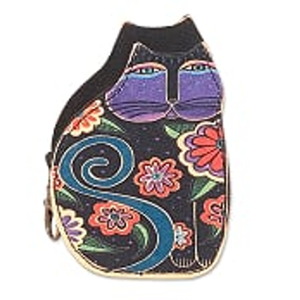 Laurel Burch Cutout Blue Swirl Cat Coin Purse – Swirl – LB8053B