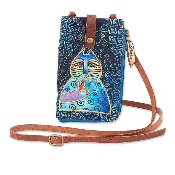 Laurel Burch 5x7 Indigo Cat Phone with Zip Pocket Crossbody Bag – LB8055A
