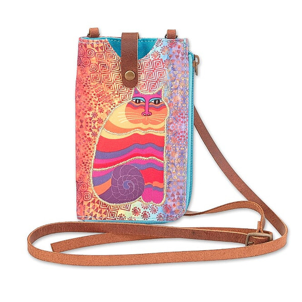 Laurel Burch 5x7 Rainbow Feline Phone with Zip Pocket Crossbody Bag – LB8055C