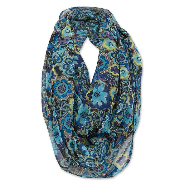 Laurel Burch Infinity Scarf Blue Multi Floral – LBI218