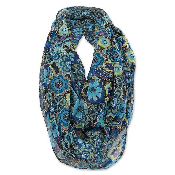 Laurel Burch Infinity Scarf Blue Multi Floral – LBI218