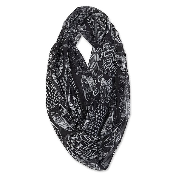 Laurel Burch Infinity Scarf Black White Feline Tribe – LBI219