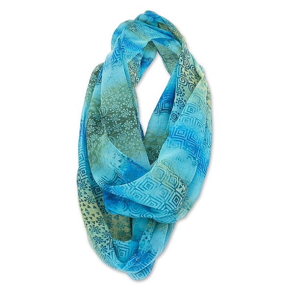 Laurel Burch Infinity Scarf Shades of the Sea Design – LBI220