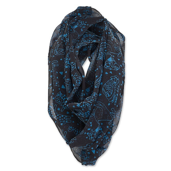 Laurel Burch Infinity Scarf Blue Doggies on Black – LBI222